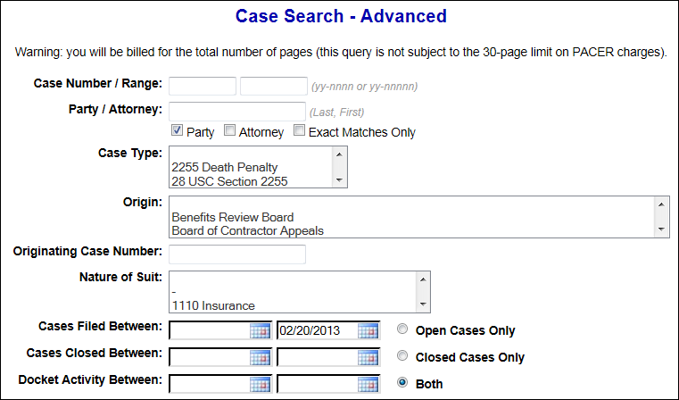 advanced case search
