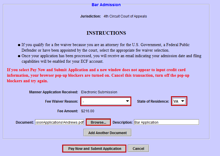 Electronic Submission of Bar Application