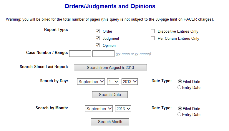 Pacer Orders/Judgement & Opinions Search